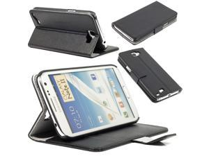 Black Stand PU Leather Case Cover Wallet for Samsung Galaxy Note 2 N7100 PC334B-NE1