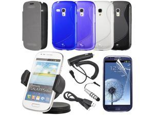 12 Bundle Pack Leather Case Car Charger for Samsung Galaxy S3 Mini i8190 BC126-NE1