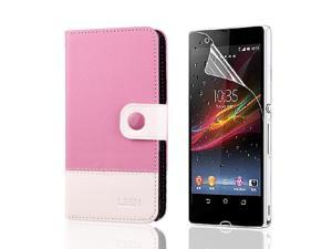 Luxury Flip Leather Case Cover Wallet For Sony Xperia Z L36H L36i + Film PC495P