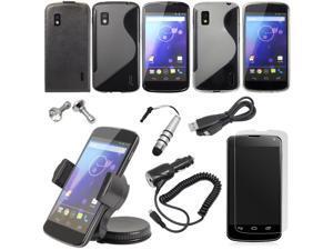15X Accessory Bundle Set kit TPU S-LINE Case For Google Nexus 4 LG E960 BC137