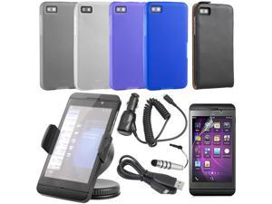 12x Bundle Flip Case + Car Charger + Screen Protector For Blackberry Z10 BC175-NE1