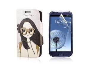 Flip PU Leather Case Cover For Samsung Galaxy S3 Mini i8190 + Protector PC444-NE1