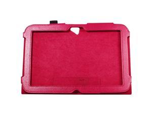 Lichee Pattern Red PU Leather Case Folio Cover Stand for Google Nexus 10 PC388R-NE1