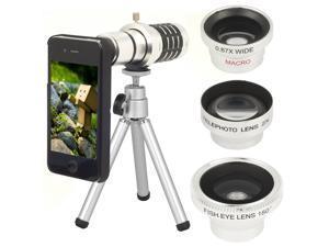 5 in1 Wide + Macro + 180 Degree Fish Eye + 2x Lens + 12x Zoom Kit for iPhone ...-NE1