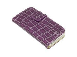 For iPhone 5 Deluxe Leather Wallet Stand Case Card Slots Crocodile Purple PC324P