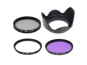 UV CPL FLD Filter + Lens Hood 58mm for Canon 650D Rebel Xsi T4i T3i T2i T1 LF136