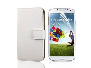 PU Leather Case Cover Wallet For Samsung Galaxy S4 i9500 + Guard White PC500W