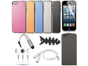 16 PCS Accessories Bundle Flip Leather Case Cover Earphone For iPhone 5 BC222