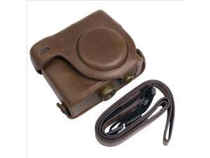 Leather Case Bag Faux PU for Canon Powershot G15 Camera Coffee with Strap LF184K