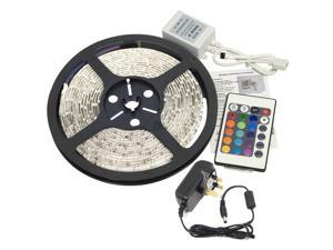 5M 300LEDs 3528 RGB MultiColor LED Strip Light 12V IR Remote Set Power (UK PLUG)LD112K