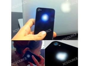 For iPhone 4 4S Back Cover Housing Black w/ Blue LED Glowing Logo Kit Set RP39
