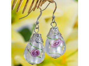 Hoop Lampwork Glass Silver Plated Earrings E53