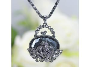 "27"" Rose Flower Pendant W Austria Crystals NecklaceN191"