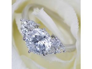 SZ8 Accent Solitaire Cubic Zirconia White Gold RingR124