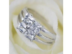 4 Square Cubic Zirconia White Gold Plated Ring R125 Sz9