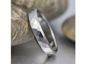 High Polish Beveled Faceted Tungsten Ring R033 Sz12.5