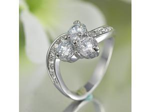 18K White GP 3Stones CZ Ring R44 Sz 7