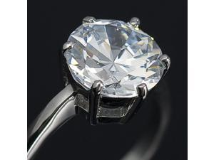 Solitaire Round CZ Ring 18K White GP Wedding R51 Size 8