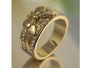 Ribbon Bowknot Band Channel Ring 18K GP R53 Size 8