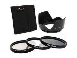 XCSource 3pcs UV CPL ND4 Filter + Lens Hood 62mm for Canon EOS 1100D 1000D 6D 7D 5D