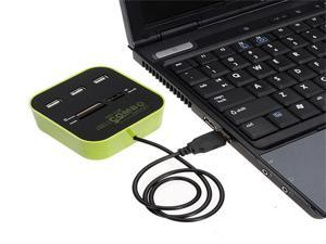 3 Port USB 2.0 Hub and All In One Multi Card Reader Combo for SD/MMC/M2/MS MP blue green