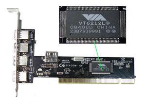 5 Ports USB 2.0 VIA  Hub High Speed 480MB PCI Card Cards
