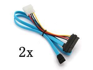 2pcs  7 Pin SATA Serial ATA to SAS 29 Pin & 4 Pin Male Connector Power Cable Adapter