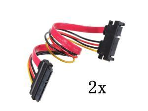 2 PCS 22P 7+15Pin Male to Female Serial ATA SATA Data Power Combo Extension Cable M/F