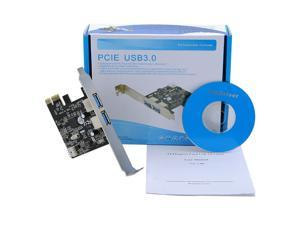PCI-E Express to 2-Port USB 3.0 Controller Card Adapter Hub 5Gbps Card Reader U flash disk pc laptop Windows 2000 XP Vista ...