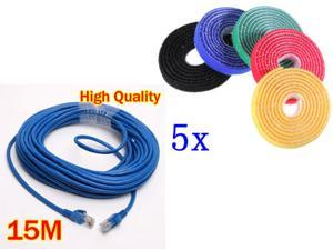 15M 50 FT RJ45 CAT5 CAT5E Ethernet LAN Network Cable+ 5pcs 1M Strap-it Wire Computer Cable Cord Ties Organizer Management ...