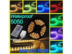 5M 5050 RGB SMD Flexible Strip LED Light Lamp Waterproof 300 LEDs + 44 Key IR Remote Controller