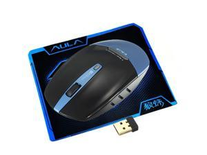 2.4G Gaming Optical Wireless Mouse With Adjustable 1750 DPI for PC Mac Notebook + AULA Waterproof Cool Mouse Pad