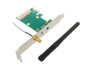 New Mini PCI-Express to PCI-Express Adapter Card with 2dBi Antenna pc laptop