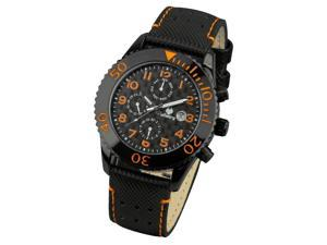 Infantry Men's Black Leather Casual Quartz Watch