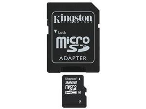 Kingston Micro Sdhc Flash Card W/ Adapter, 32gb