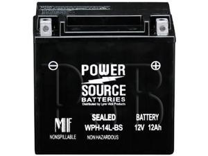 Power Source Batteries WPH14L-BS (YTX14L-BS Replacement) Sealed Maintenance Free Battery 01-347A - 1 Year Manufacturer Warranty!