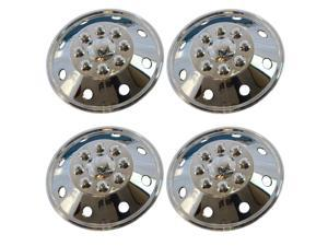 "4 Piece Set 16"" 8 Lug RV Dual Chrome Simulators Steel Wheel Skin Hub Cap Rim Covers"