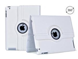 Tenergy 360 degree Rotating Leather Case for Apple iPad 2nd, 3rd & 4th Generation - White