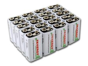 Combo: 20pcs Tenergy Centura NiMH 9V 200mAh Low Self Discharge Rechargeable Batteries