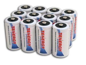 Combo: 12 pcs Tenergy Premium C 5000mAh NiMH Rechargeable Batteries