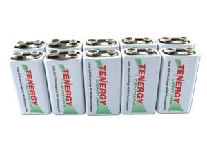 Combo: 10pcs Tenergy Centura NiMH 9V 200mAh Low Self Discharge Rechargeable Batteries