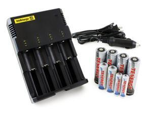 Combo: Nitecore i4 4-Bay Smart Charger + Tenergy Rechargeable Battery Kit (4 x 18650 2600mah Li-ion Button Top, 2 AA NiMH ...
