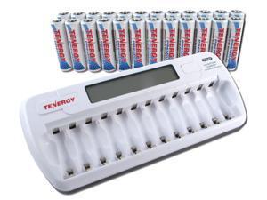Combo: TN160 12-Bay AA/AAA NiMH/NiCD LCD Charger + 24 pcs Tenergy Premium AA NiMH Rechargeable Batteries