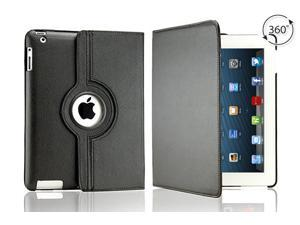 Tenergy 360 degree Rotating Leather Case for Apple iPad 2nd, 3rd & 4th Generation - Black