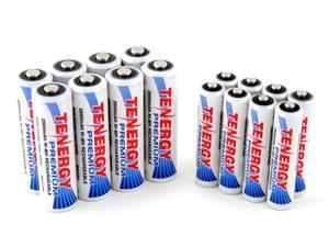 Combo: 16 pcs Tenergy Premium NiMH Rechargeable Batteries (8AA/8AAA)