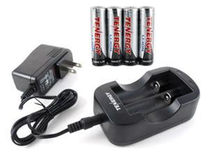 Combo: Tenergy 2CH 18650/14500 Li-ion Battery Charger + 4 PCS Li-ion 18650 3.7V 2600mAh Batteries (Button Top) w/ PCB