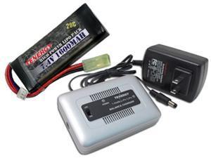 Combo: Tenergy 1-4 Cells Li-PO/Li-Fe Balance Charger + 7.4V 1600mAh 20C LiPO Battery Pack