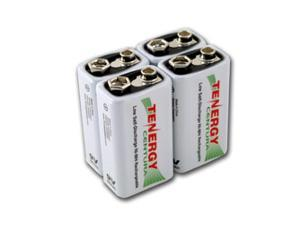 Combo: 4pcs Tenergy Centura NiMH 9V 200mAh Low Self Discharge Rechargeable Batteries