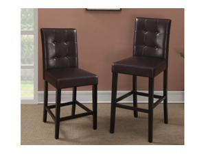 "Sophia's Galleria Luxurious Faux Leather 41"" Barstool in Espresso Finish, Set of 2"