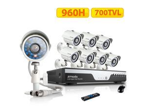 Zmodo KDC8-YARUZ8ZN-1T 8 Channel H.264 Level 960H DVR Security System with 8 x 700TVL Night Vision w/IR Cut Outdoor Cameras ...